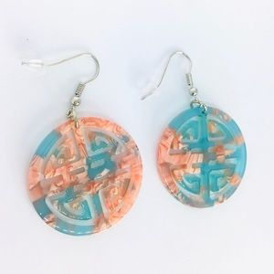 New! Pink Marble Pattern Two Tone Circle Earrings